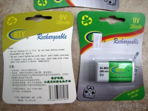 Frente e verso da nova embalagem das baterias BTY