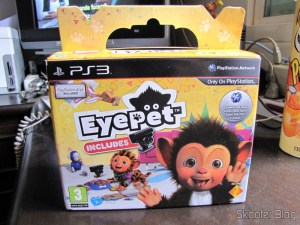 A box of EyePet, which includes the game and the Playstation Eye camera