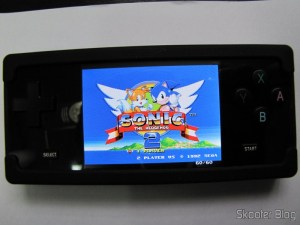 Sonic 2 running on the PicoDrive Dingux the Dingoo A-320 in Silicone Protective Case