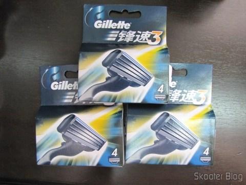 As 3 embalagens de cartuchos Mach 3 da Gillette vindos da China
