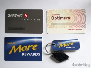 Cartões do Safeway, Shoppers e Save-on-Foods, e tag para chaveiro do Save-on-Foods
