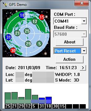 Tela do programinha que mostra as informações do Receptor GPS Bluetooth para Navegação e Rastreamento com 20 canais conectado no PC via bluetooth