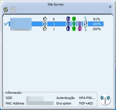 Site Survey com o software da Ralink e o Dongle de Rede Sem Fio WiFi USB 2.0 300Mbps 802.11n/g/b de Alta Potência, o primeiro AP é do meu vizinho, os outros dois são meus (na verdade é o mesmo, com rede normal e de convidado)