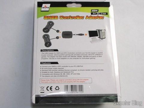 Verso da embalagem do Adaptador USB para dois Controles Gamepad de SNES (Super Nintendo) ou SFC (Super Famicom)