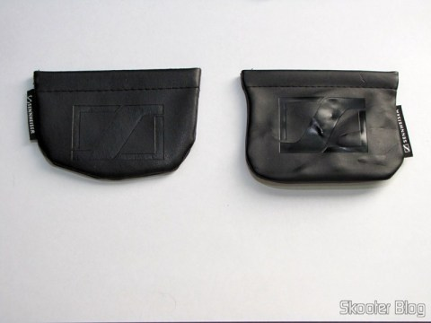 Comparação entre a bolsa do Fone de Ouvido In-Ear com Isolamento de Ruído com Plug P2 (3.5mm) (à esquerda) e cabo de 120cm e a bolsa do Sennheiser CX-300 II Precision (à direita)