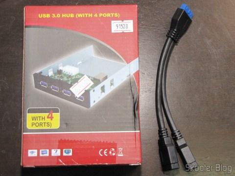 """Cabo Adaptador Header de Placa-mãe c/ 20 pinos para dois USB 3.0 c/ 15cm e Painel frontal 3.5"""" com Hub de 4 portas USB 3.0"""
