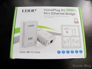 Par de Adaptadores de Rede EP-PLC5506 HomePlug Powerline 200Mbps