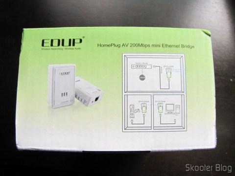 Outra lateral da caixa do Par de Adaptadores de Rede EP-PLC5506 HomePlug Powerline 200Mbps