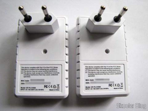 Plugs dos Adaptadores de Rede EP-PLC5506 HomePlug Powerline 200Mbps