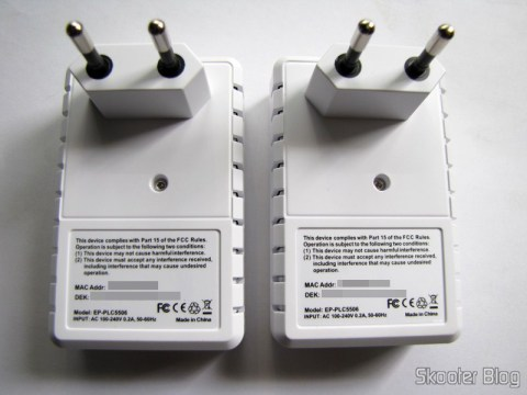 Plugs dos Adaptadores de Rede EP-PLC5506 HomePlug Powerline 200Mbps