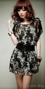Vestido de Renda Chiffon com Manga Curta