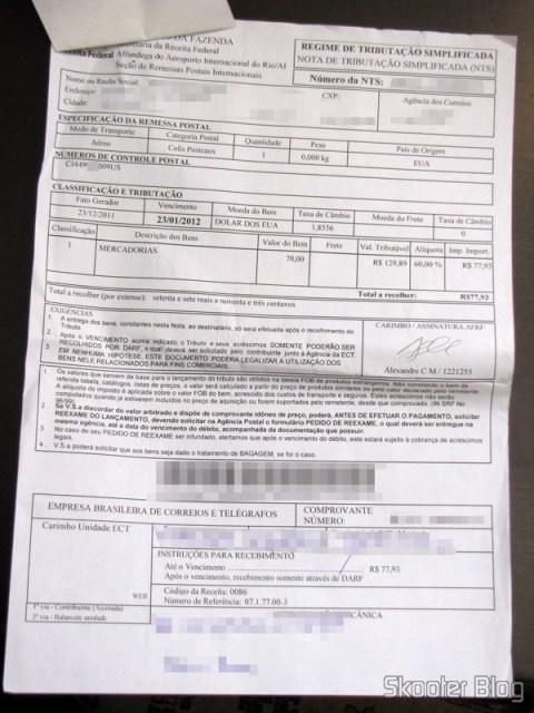A nota de tributação simplificada (NTS), preenchida pelo Alexandre C M.