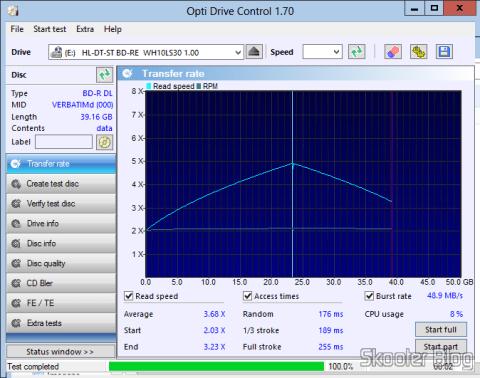 Teste com o Opti Drive Control do Disco Blu-Ray BD-R DL 50GB Verbatim