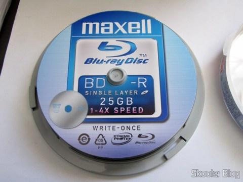 Embalagem com os 10 Discos Blu-Ray BD-R 25GB 4X MAXELL genuínos