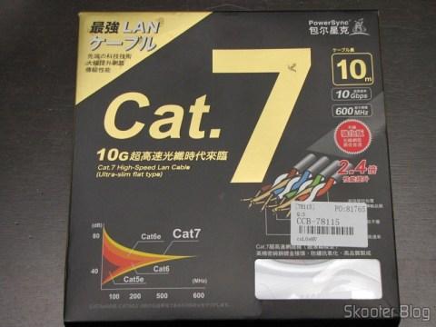 Cabo de Rede LAN Ethernet 4 pares trançados blindados (STP) cat7 10Gbps com 10 metros Ultra Plano PowerSync CCB-78115 ((POWERSYNC) 10M Ultra Flat 10Giga Speed Cat.7 32AWG RJ45 4-Pair STP Ethernet LAN Network Cable CCB-78115) em sua embalagem