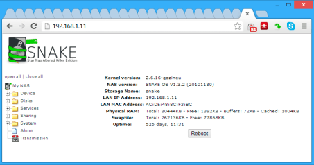 O primeiro NS-K330 – Servidor USB / NAS / FTP /SAMBA / Impressão / UPNP / Compartilhamento + Cliente de BitTorrent (Standalone BitTorrent BT Client + USB / NAS / FTP / SAMBA / Printer / UPNP Sharing Network LAN Server), com 525 dias de uptime