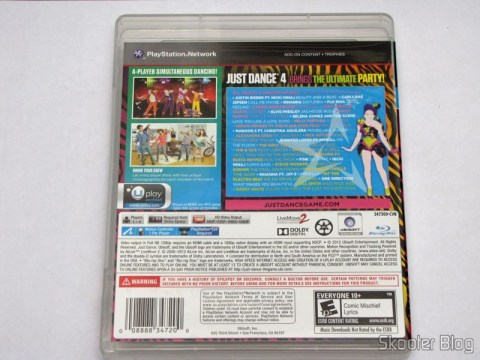 Back cover of Just Dance 4 (PS3)