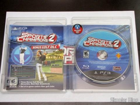 Manual, folder das DLCs e disco blu-ray do Sports Champions 2 (PS3)