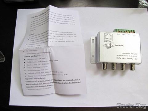 Balun Transceiver Passivo de 4 Canais de Vídeo (CCTV) via Par Trançado, máximo 330m e o manual de instruções