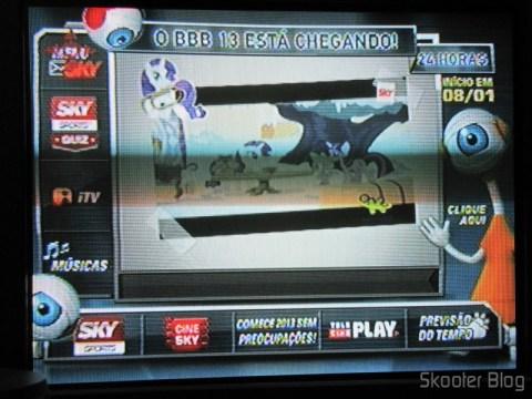 Imagem da TV com o ponto escravo usando o Balun Transceiver Passivo de 4 Canais de Vídeo (CCTV) via Par Trançado, máximo 330m