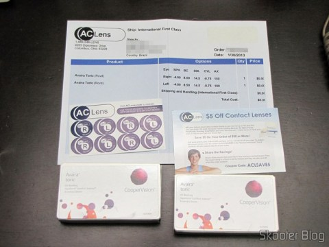 Lentes de contact Cooper Vision Avaira Toric, adhesives, invoice and coupon for the next purchase