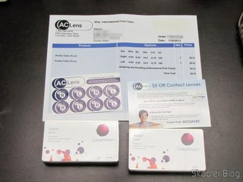 Lentes de Contato Cooper Vision Avaira Toric, adesivos, invoice e cupom para a próxima compra