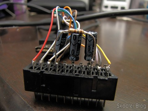 Playstation SCART RGB cable 1/2 with Audio and Guncon output (RGB Cable with Audio and Guncon output), with the resistor 180 soldier ohms between pins 8 and 16