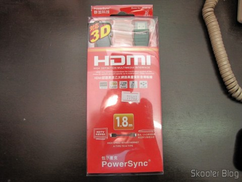 HDMI Cable MM PowerSync Genuine High Speed, 3D, Ethernet 2160p com 1,8 meters (Genuine PowerSync 2160P HDMI M-M High Speed/3D/Ethernet Connection Cable (1.8M-Length)) on its packaging