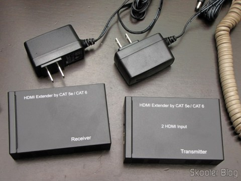 Conjunto Extensor HDMI sobre cabo de rede Cat5e / Cat6 (1080P HDMI Over CAT5E / CAT6 Extender Set - Black (2-Input / 1-Output))