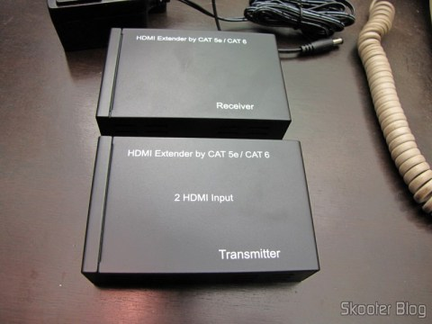 Transmissor e Receptor do Conjunto Extensor HDMI sobre cabo de rede Cat5e / Cat6 (1080P HDMI Over CAT5E / CAT6 Extender Set - Black (2-Input / 1-Output))
