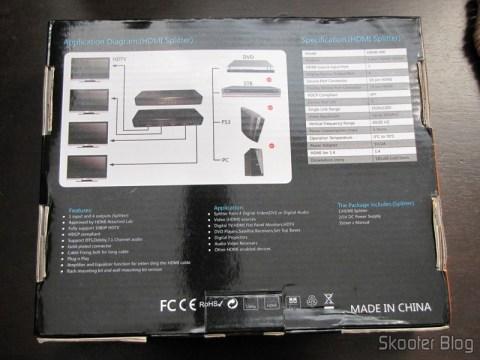 Embalagem do Splitter HDMI de 1 entrada para 4 saídas HUIYISHUN HDMI-400 HDMI v1.4 Full HD 1080p 3D (HUIYISHUN HDMI-400 3D 1080p Full HD HDMI V1.4 1 to 4 Splitter – Black + White (UK Plug / 100~240V))