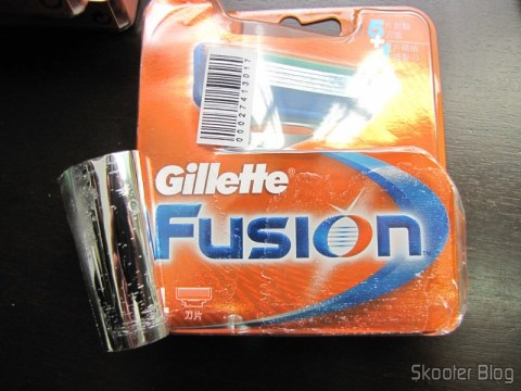 Detail Package of Gillette Fusion Razor Blades Cartridges, under the front bumper sticker