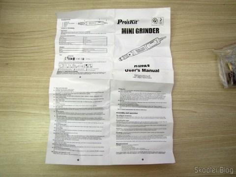 Manual de instruções do Mini Grinder Pro'sKit PT-5201A (110 In)