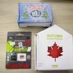 Pisca-Pisca de Natal com 60 Lâmpadas LEDs de Luz Branca, 8 metros (60-LED White Light Solar Christmas Lamp String - Dark Green (8m-Cable)), Cartão de Memória Sandisk Genuíno Micro SDXC / TF c/ Adaptador SD 64GB Classe 10 (Genuine SanDisk Micro SDXC / TF Memory Card w/ SD Card Adapter - Grey + Red (64GB / Class 10)), e Para-Porta Estilo Folha de Maple Vermelho (Maple Leaf Style Door Stopper Guard - Red)