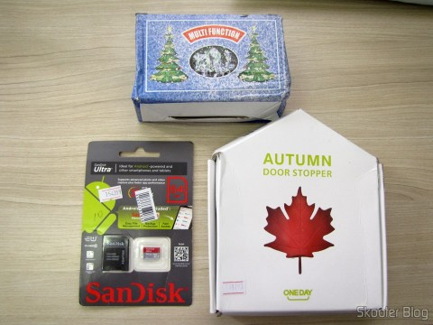 FLASHER Christmas 60 LED White Light Bulbs, 8 meters (60-LED White Light Solar Christmas Lamp String - Dark Green (8m-Cable)), Genuine Sandisk Memory Card Micro SDXC / TF w / SD Adapter 64GB Class 10 (Genuine SanDisk Micro SDXC / TF Memory Card w/ SD Card Adapter - Grey + Red (64GB / Class 10)), and To-Door Style Red Maple Leaf (Maple Leaf Style Door Stopper Guard - Red)Red