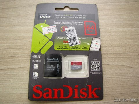 Genuine Sandisk Memory Card Micro SDXC / TF w / SD Adapter 64GB Class 10 (Genuine SanDisk Micro SDXC / TF Memory Card w/ SD Card Adapter – Grey + Red (64GB / Class 10)), on its packaging