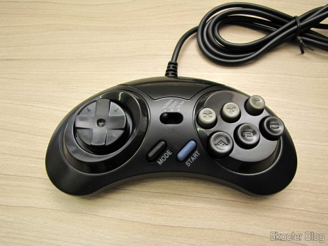 One of the 2 Mega Drive and Master System controllers with 6 buttons (2x Megadrive Master System 6 Button controller pads NEW)