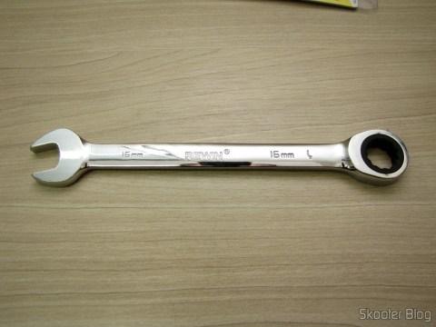 Chave Combinada (Chave de Boca) com Catraca Aço Cromo-Vanádio 16mm REWIN (Chrome Vanadium Steel Ratchet Combination Spanner Wrench (16mm))
