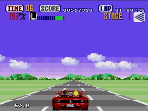 Kega Fusion executando o Out Run, do Mega Drive