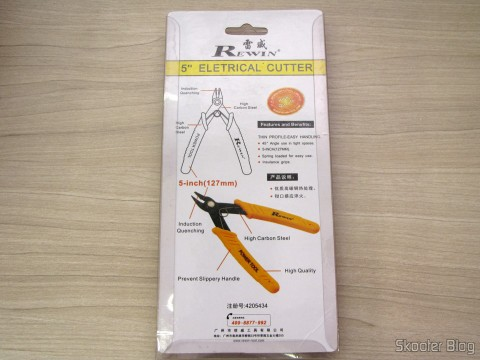 """Wire Cutter 5 """"Rewin (Rewin 5″ Electronic Wire Cutter – Yellow + Black), on its packaging"""