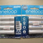 Embalagens com 4 Pilhas Recarregáveis AA NiMH 1.2V 1900mAh Sanyo Eneloop Genuínas (Genuine Sanyo Rechargeable 1.2V 1900mAh AA Batteries (4-Piece Pack))