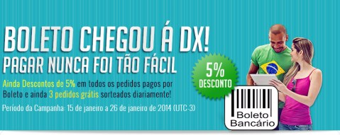 Promotion of DX: 5% Off payments through bank slip