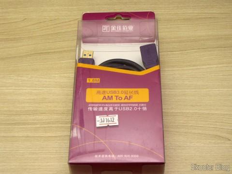 Cabo Extensão USB 3.0 Macho para Fêmea Millionwell 180cm (MILLIONWELL USB 3.0 Male to Female Extension Cable (180cm)), em sua embalagem