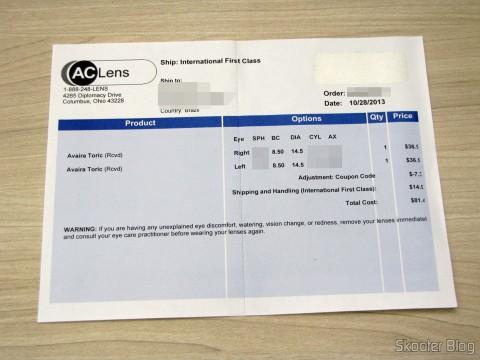 Invoice da compra na AC Lens