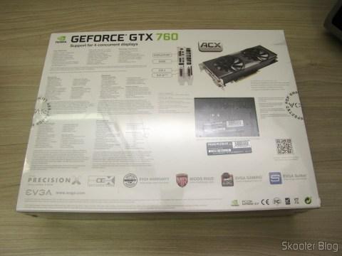 Video Card EVGA GeForce GTX 760 SC 4GB DisplayPort HDMI DVI-I/DVI-D com Cooler ACX 04G-P4-2768-KR (EVGA GeForce GTX 760 SC 4GB DisplayPort HDMI DVI-I/DVI-D Graphics Card with ACX Cooler 04G-P4-2768-KR) on its packaging