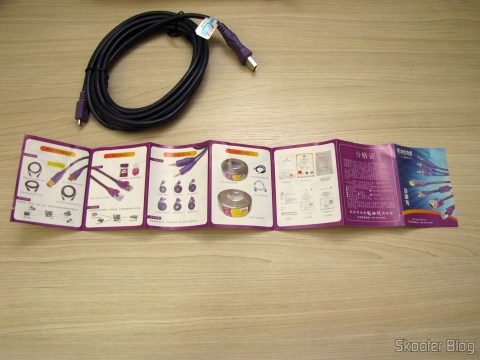 One of the Load Data Cables and USB male to Micro USB male Millionwell 01.0363 with 3 meters (Millionwell 01.0363 USB Male to Micro USB Male Data / Charging Cable - Purple (3m)) and the accompanying brochure