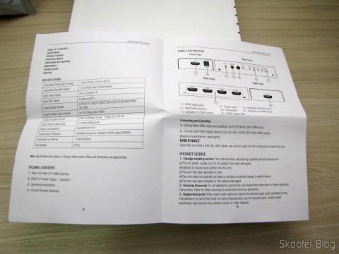 Manual de Instruções do Switch HDMI c/ Controle Remoto LINK-MI LM-SW04 1080p 3D 5 entradas p/ 1 saída (LINK-MI LM-SW04 1080P 3D 5 in 1 out HDMI Switch w/ Remote Control - Black)