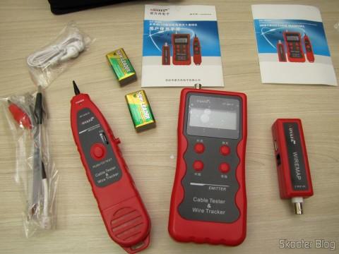 Testador de Cabos de Rede LAN, Telefone, USB, BNC e Firewire com Rastreador de Cabos e Display LCD (Network LCD LAN Cable Tester Phone Wire Tracker RJ45 RJ11 BNC USB Scanner 5E, 6E) e seus acessórios
