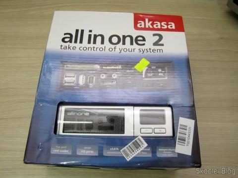 """Painel Frontal Multifuncional Akasa AK-ALL-02SL All-in-One 2 para baias de 5.25"""" Prata, em sua embalagem"""