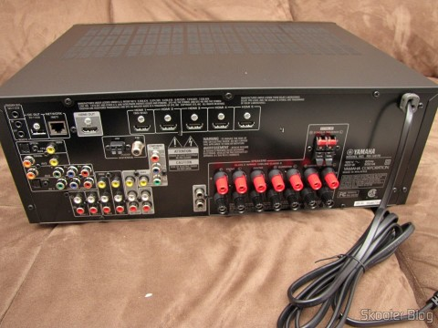 Rear connections of the Yamaha RX-V675 7.2 Channel Network AV Receiver with Airplay